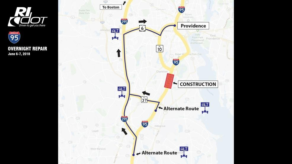 Traffic Map 95.Ridot Prepare For Traffic On I 95 North In Cranston During Repairs