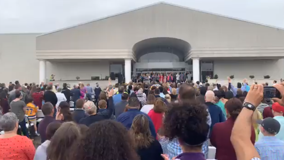 Church celebrates Easter outside of the former Swansea Mall