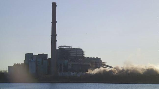 Chimneys knocked down at former Brayton Point power plant   WJAR